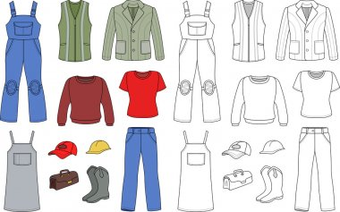 Worker, plumber man, woman fashion set