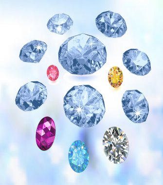 Colored gems on light blue background