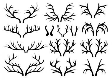 Deer antlers black silhouettes vector