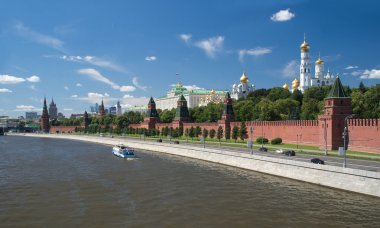 The Moscow Kremlin and churches view from Moskva River in summer day
