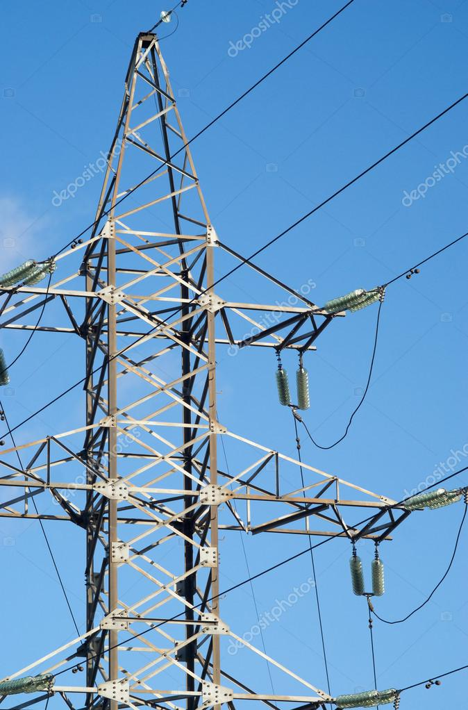 High-voltage power line metal tower vertical view — Stock Photo ...