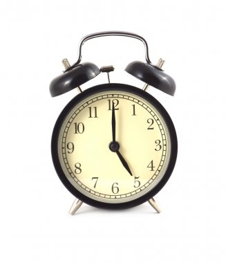 Black alarm clock shows 5 isolated
