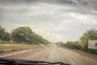 Rainy weather on the road