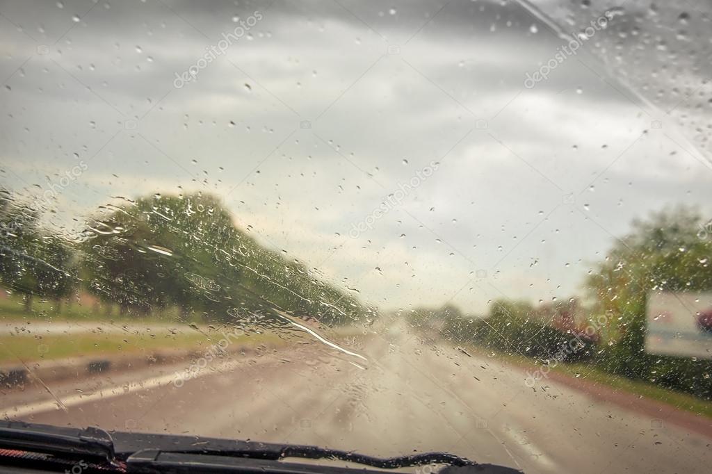 Rainy weather on the road
