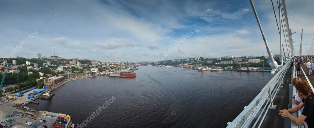 Panorama of Zolotoy rog bay / Golden horn bay from new bridge in