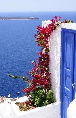Traditional greek door on Santorini island, Greece