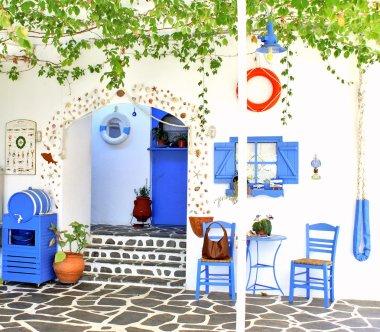 Traditional Greek tavern, on Santorini island, Greece