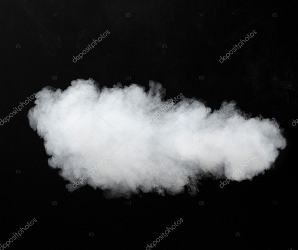 white smoke cloud background on black