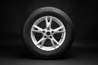 Car tire with aluminum alloy wheel stock vector