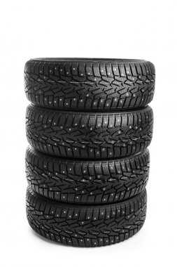 winter tires stack isolated on white