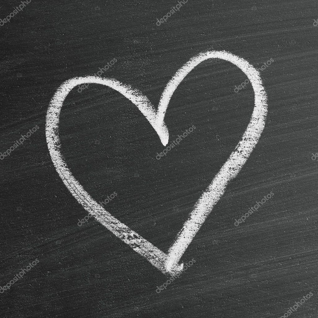 love heart symbol on a blackboard