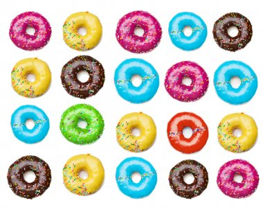tasty colorful donuts background, isolated on white
