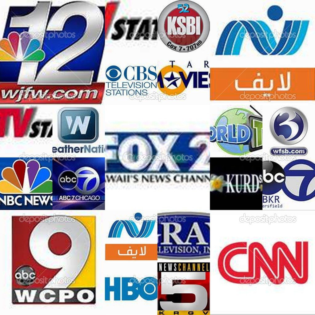 World tv stations , collage – Stock Editorial Photo