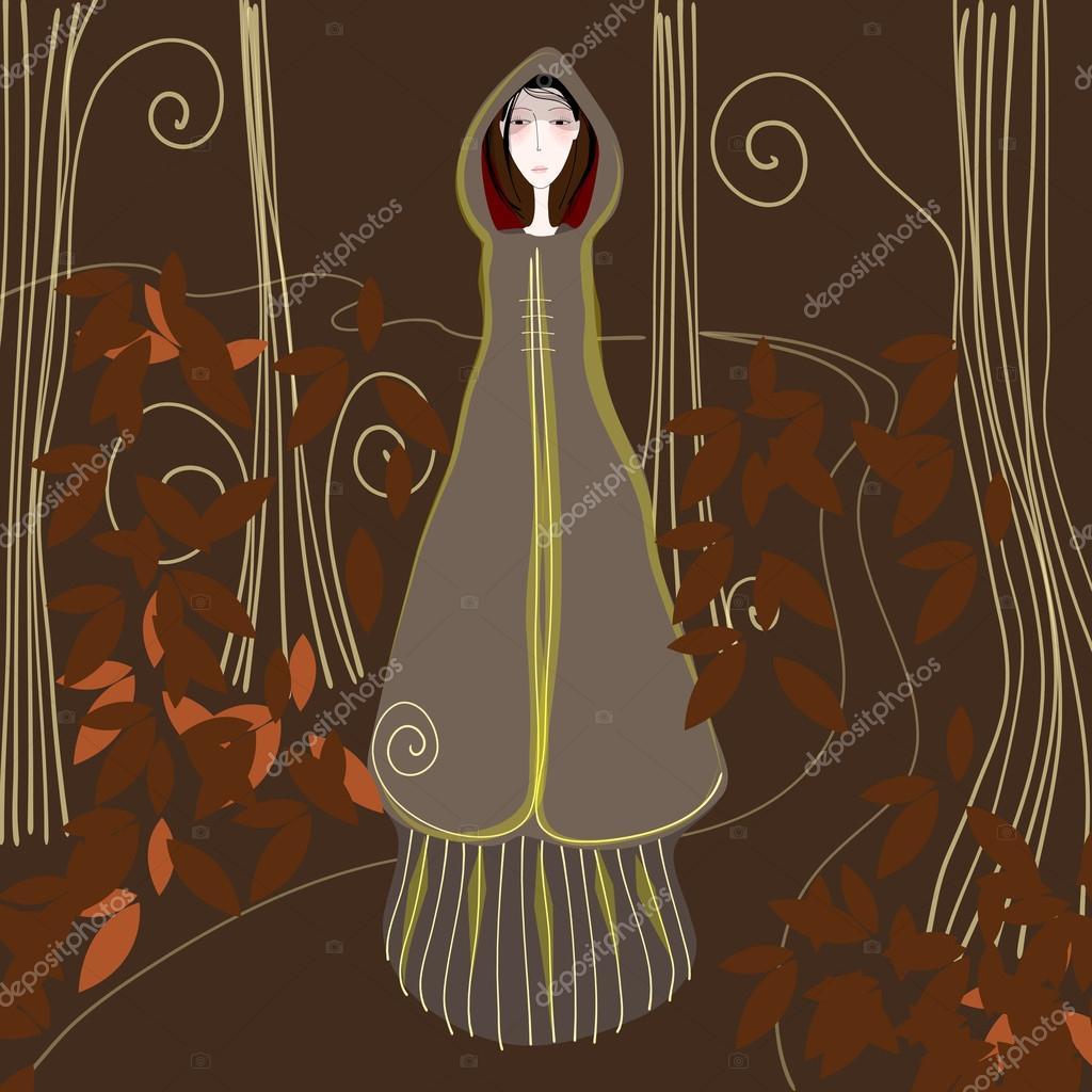 Cute autumn girl strolling through a forest