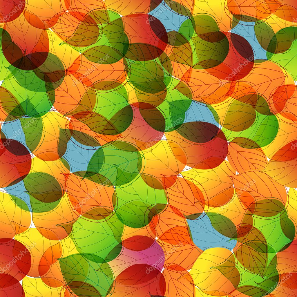 Seamless colorful autumn leaves background illustration