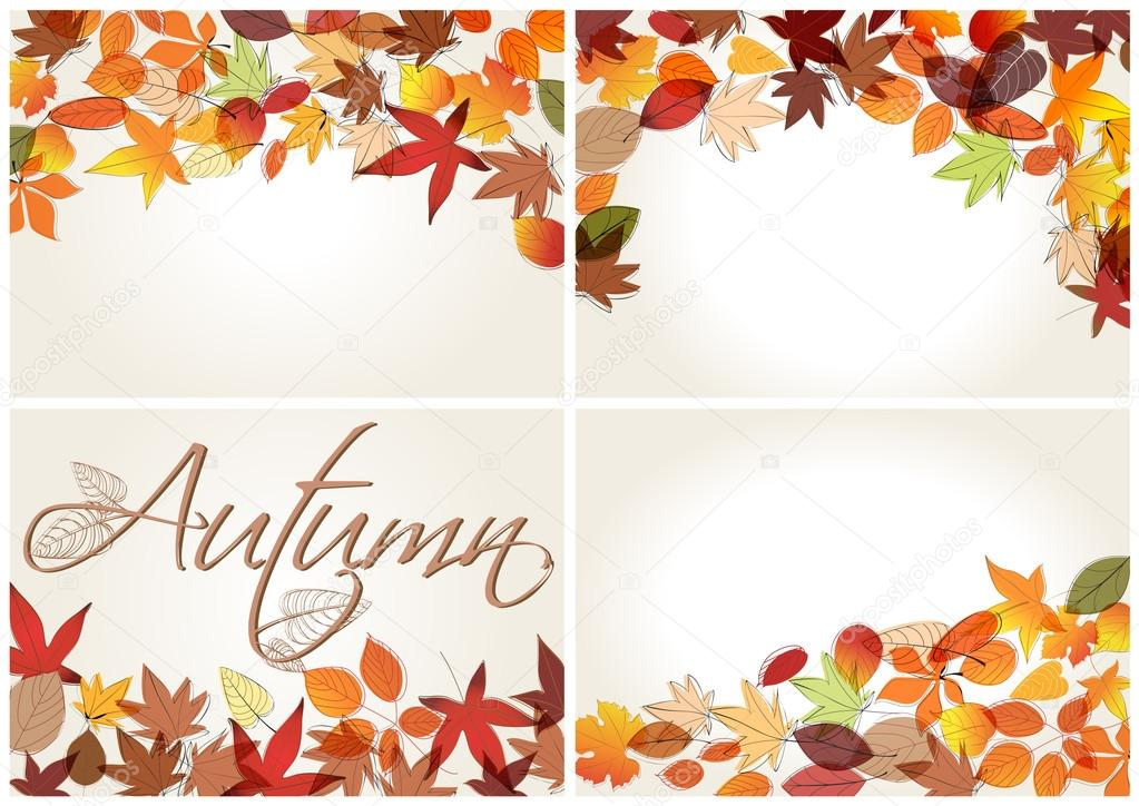 Set of colorful autumn leaves illustration