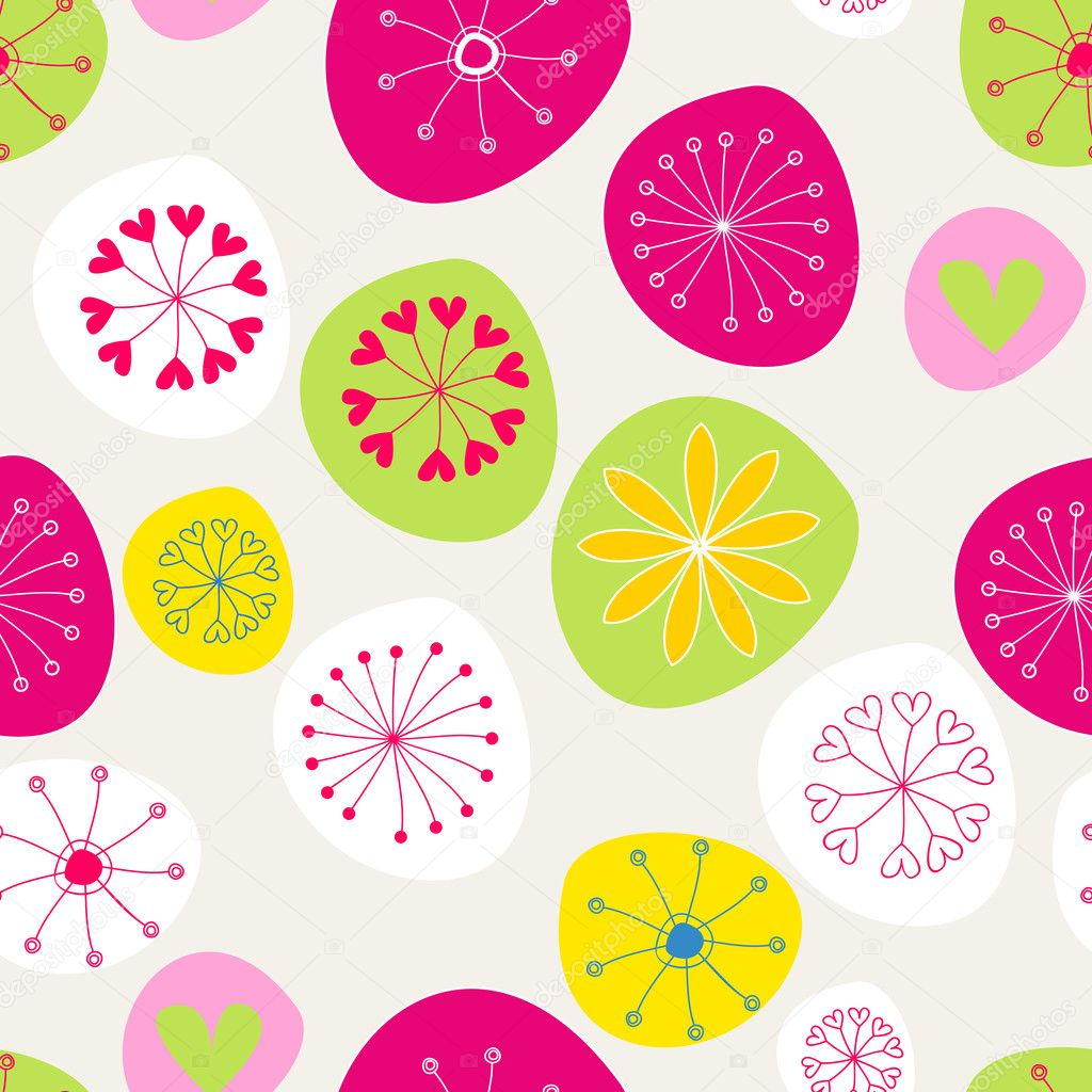 Seamless cute spring flowers background