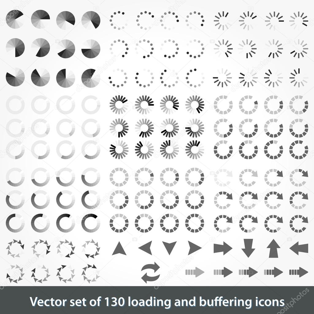 Set of 130 loading and buffering icons