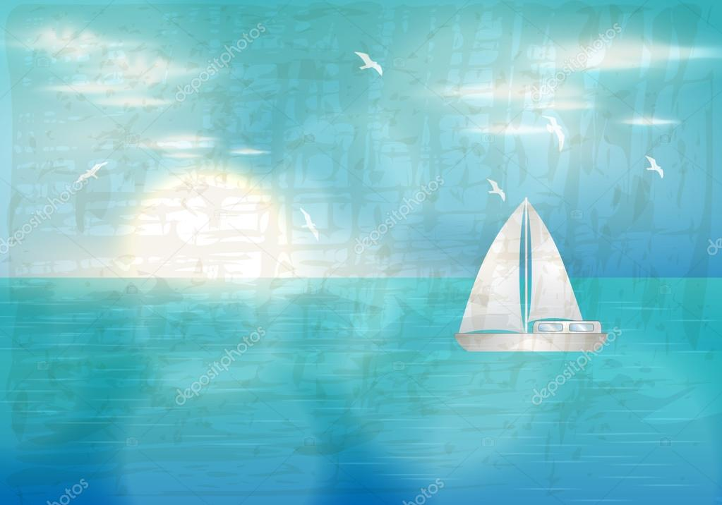 Retro blue ocean with sailing boat illustration