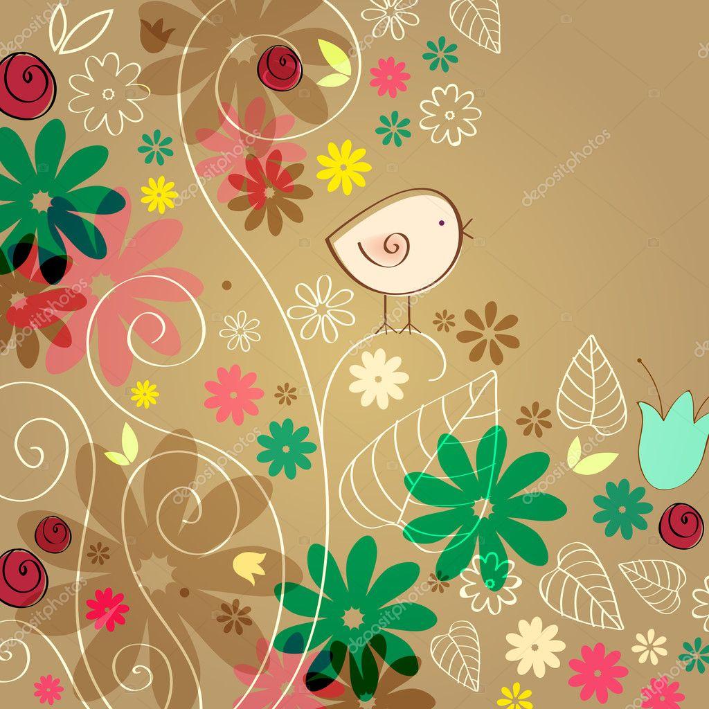 Sevimli Sonbahar Yaprakları Ve Kuş çizimi Stok Vektör