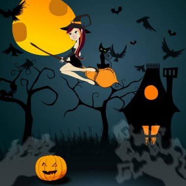 Cute Halloween witch with black cat flying in front of a full Mo