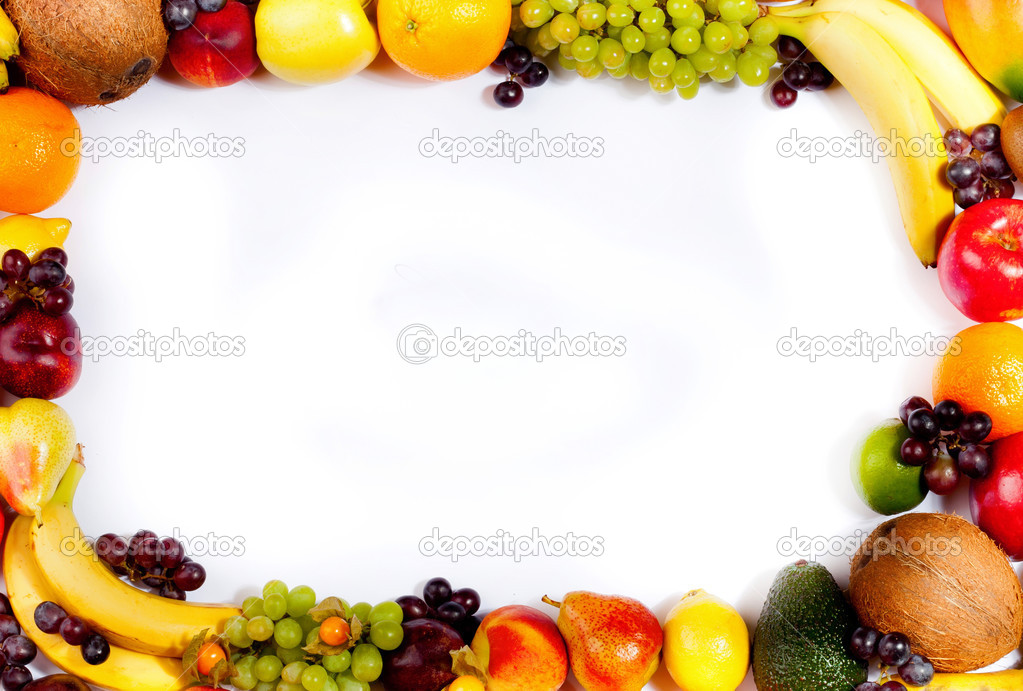 Border or frame of colorful fruits. Assortment of exotic fruits ...