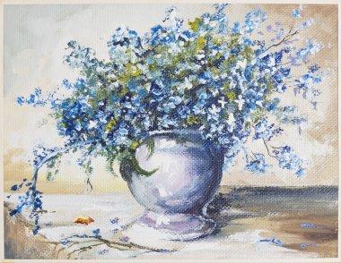 Spring blue flowers oli painting