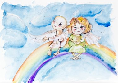 Funny rainbow angels