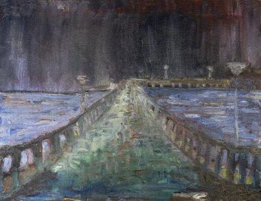 """Картина, постер, плакат, фотообои """"в море курортный город Ночной дождь"""", артикул 43016535"""