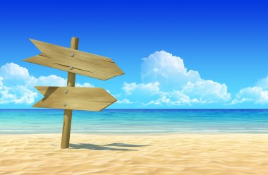 Empty wooden signpost on idyllic tropical sand beach to place your logo, product or text