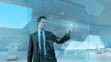 Businessman press graph future technology touchscreen interface