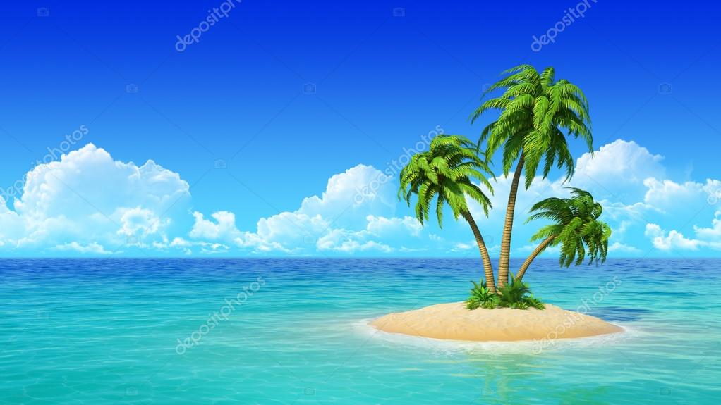 Tropical island with palms.