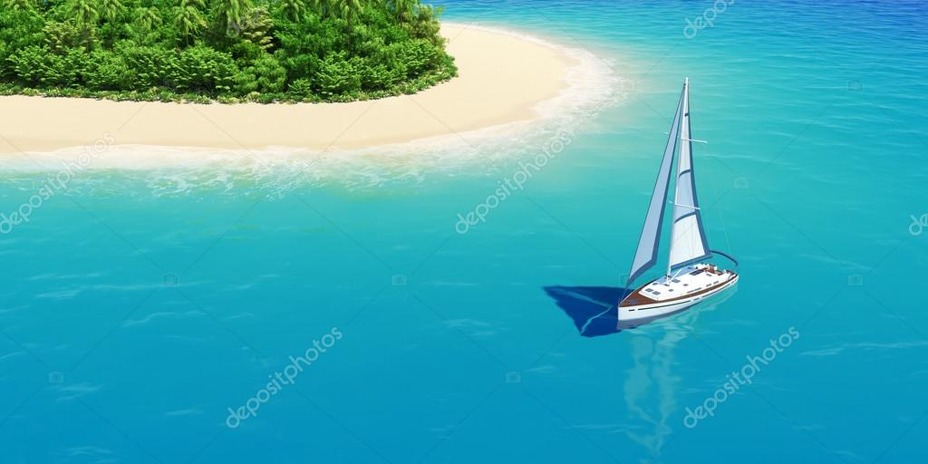 Yacht near tropical sand beach with palms.