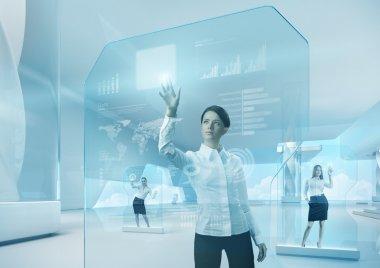 Future teamwork concept. Future technology touchscreen interface