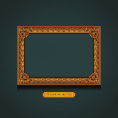 Vintage Gold picture Frame on the wall. Floral ornament. Extremely high detail Vector.