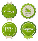 Fotografie Eco Vintage Labels Bio template set. Ecology theme. Retro logo template design. Extra High quality. 3D Vector.