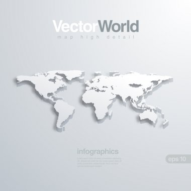 World map 3D vector illustration. Useful for infographics Global concept.