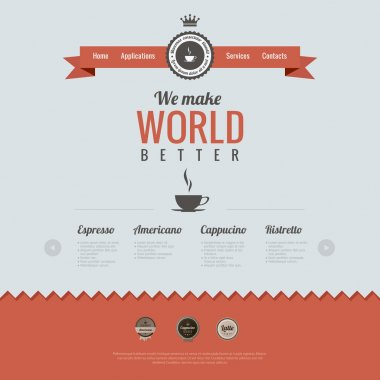 Vintage website design template. Coffee theme. HTML5 Retro style. Vector.