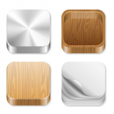 Icon trendy templates for any applications. Different pattern texture collection. UI Square icons set. High detail vector metal, wood, paper. Editable. Creat trendy user interface!