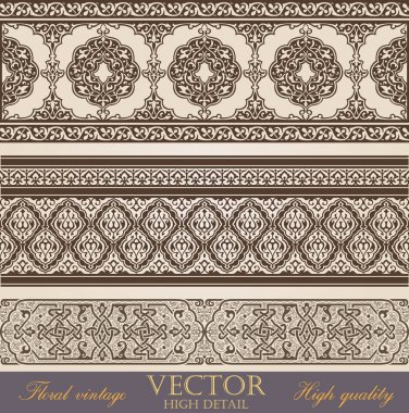 Vintage Border design elements collection. Retro Floral ornament. High Detailed. Super Quality Vector.