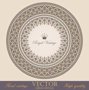 Vintage circle Frames design elements collection. Vector Floral ornament. Super High Detailed. Luxury.