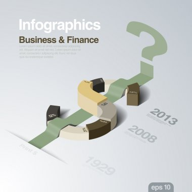 Infographics design template. Business and Finance theme. Dollar as a plot of concept. Creative idea for finance report. Vector. Editable.