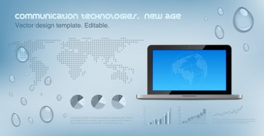Laptop front on the hi-tech background. Copyspace for Logo.. World map dotted on the background. Future technology concept. Design template. Vector. Editable.