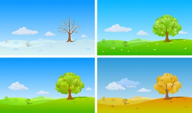 Tree in four Seasons: winter, spring, summer, autumn. Floral background changing seasons stock vector