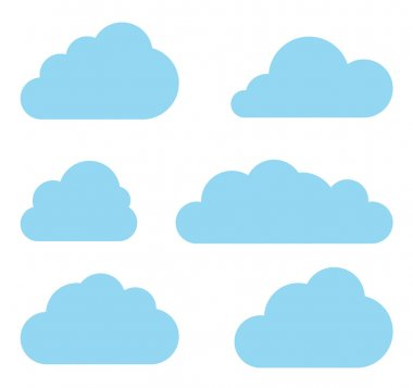 Clouds collection. Cloud shapes pack. Vector.