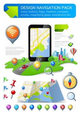 Navigation elements kit design template. Use for web, application, design. Fully editable. Vector.