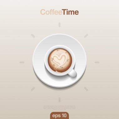 Coffee cup top view vector. Cappuccino foam. Design concept. Coffee time Creative idea. Realistic vector.