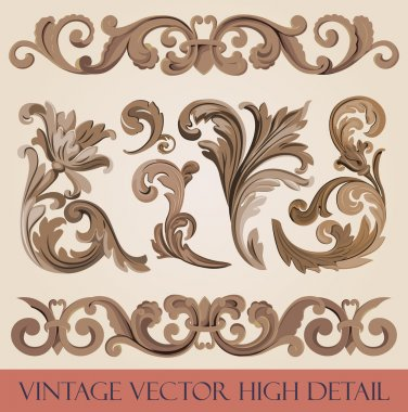 Vintage floral elements pack. Flourish ornament border. High detail vector. Royal style ornate.