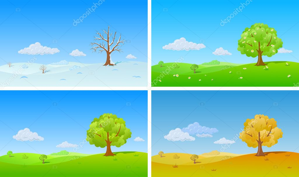 Tree in four Seasons: winter, spring, summer, autumn. Background changing seasons