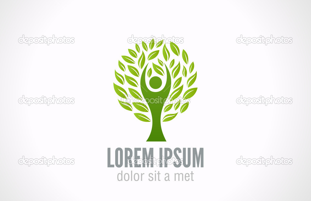 Eco Green Tree logo template. Bio Man abstract icon. Ecology concept ...